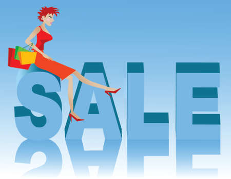 Illustration of a woman sitting on big sale letters