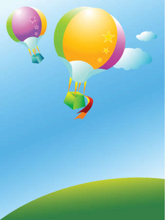 Two colorful balloon flying over a green hill Stock Vector - 742231