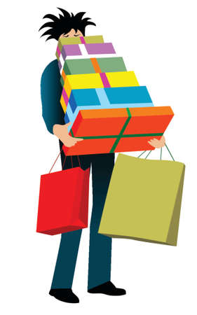 illustration of a man carrying shopping bags and gifts Illustration