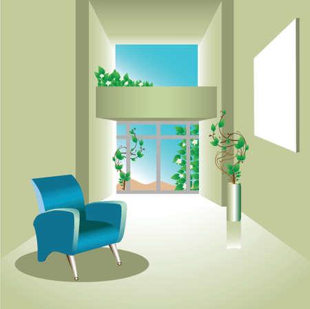 illustratie van een natuurlijke ruimte met stoel