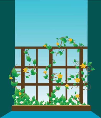 illustration of a window with flowers on vine Illustration