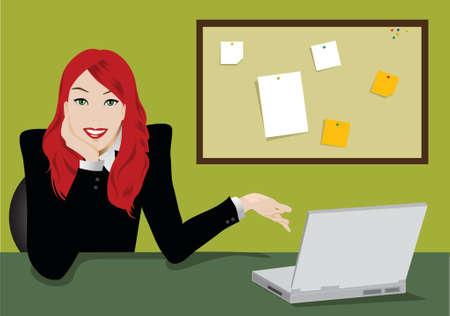 노트북 및 노트 보드와 비즈니스 여자의 그림