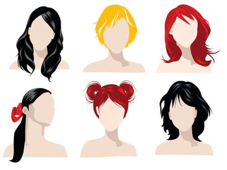 異なる色を持つ女性の髪のスタイルの図