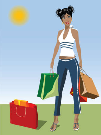 illustration of a black woman carrying shopping bags