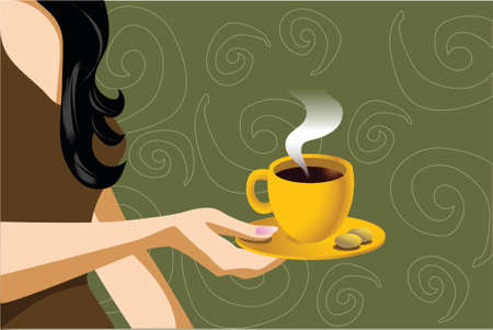 illustration of a woman holding coffee cup with cookies