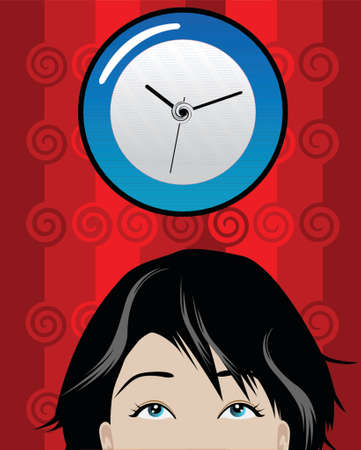 illustration of a woman checking time at office
