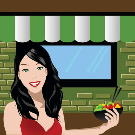 illustrated woman eating