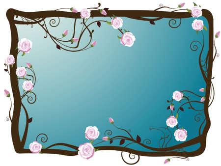 illustration of roses on vine