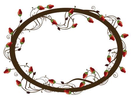 illustratie van rozen op wijnrankbladeren Stock Illustratie