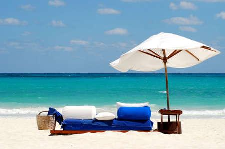 ocean view with white umbrella photo