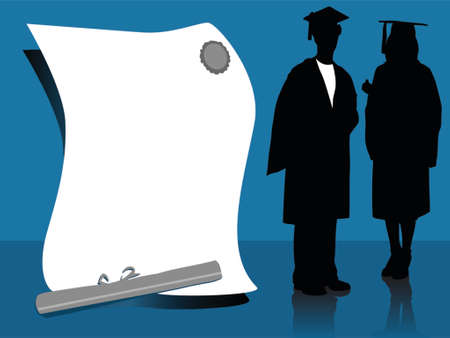 illustration of graduates, silhouettes 向量圖像