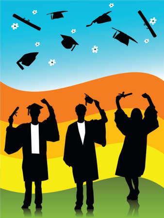illustration of  graduates, silhouettes Ilustracja