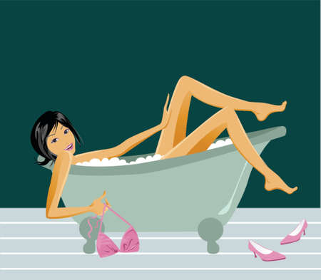 illustration of a woman bathing in a vintage bathtub Çizim