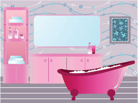 Illustration of pink bathroom with retro bathtub Çizim