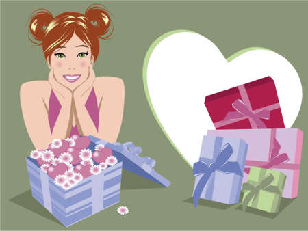 Illustration of woman with lots of gifts