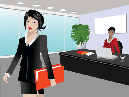 illustration of two businesswoman in a modern office