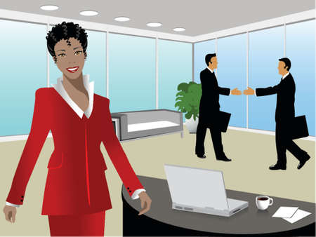 black business woman and two businessman handshaking