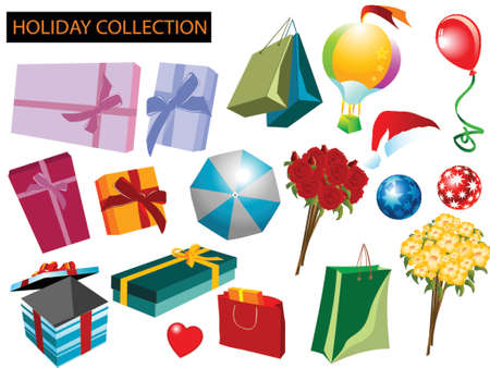 illustration of holidays and celebrations items