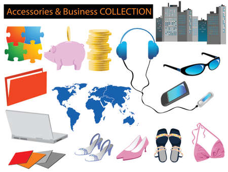 illustration of business and dailylife accessories