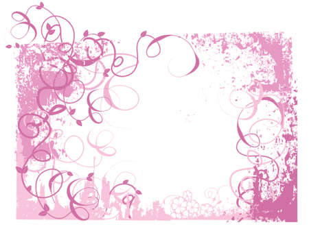 pink grunge background with swirls, vines and leaves