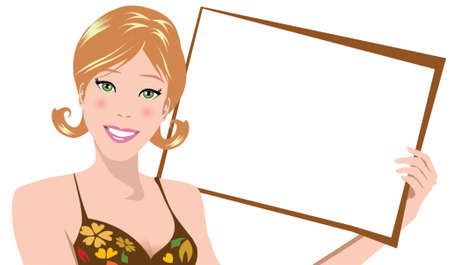 illustration of a woman holding blank board