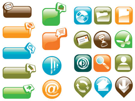 variety of colorful glass buttons with web icons
