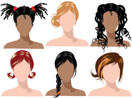 illustration of female hair styles with different colors Stock Vector - 951736