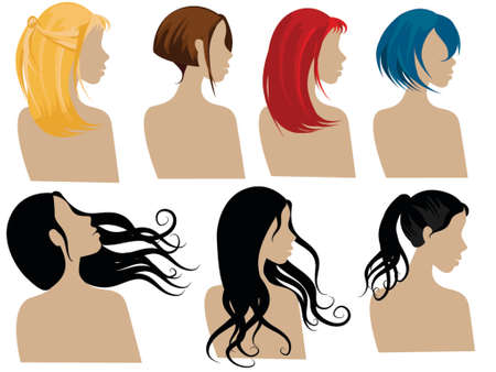 illustration of female hair styles with different colors