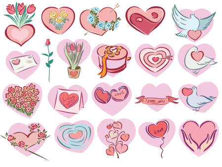 illustration of valentine icons in pink heart shape