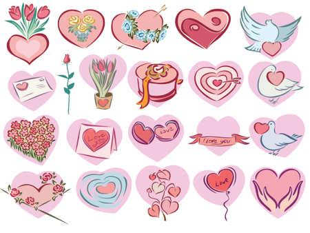 Illustrazione delle icone di San Valentino a forma di cuore rosa Archivio Fotografico - 1200577