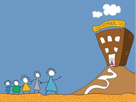Stick kinderen gaan naar school in een rij Stock Illustratie
