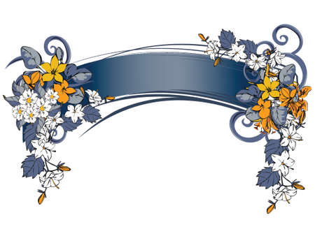 Floral grunge banner with handdrawn flowers
