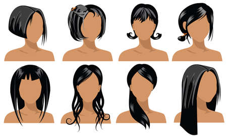 illustration of female hair styles