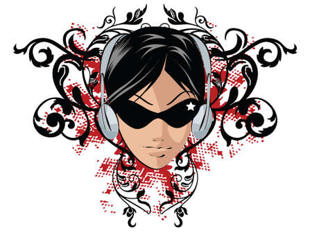 Girl with headphones on grunge floral banner