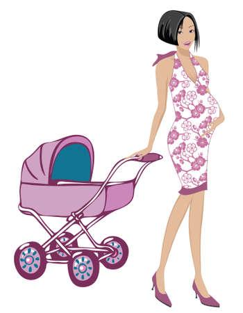 Maman enceinte avec la robe mignonne traînant une poussette rose Banque d'images - 1518394