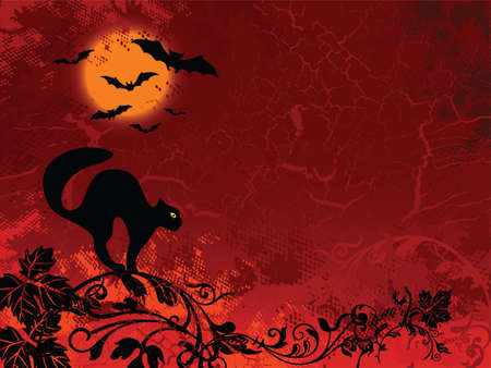 Halloween images on red floral background