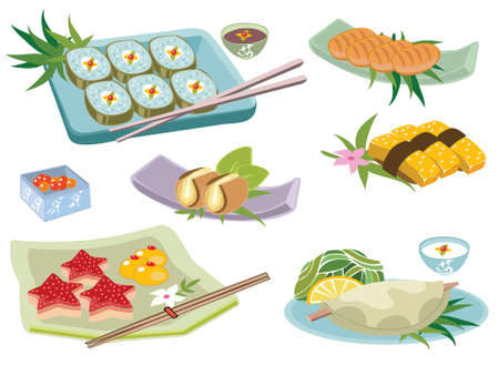 Variety of Japanese food Ilustrace