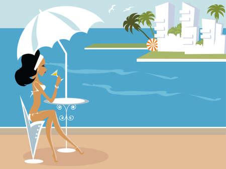 Miss Boo at Spain having good time by the sea Ilustração