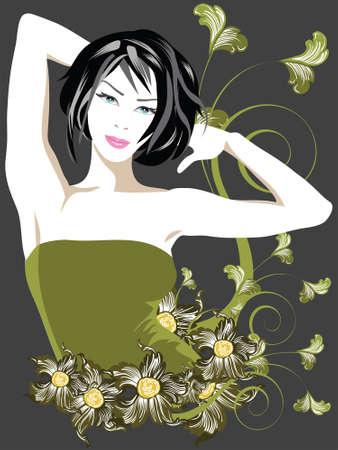Blumenelemente mit phantastischer Dame Standard-Bild - 1745087