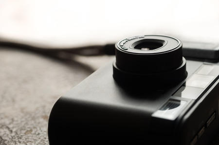 point and shoot: Small black point and shoot camera