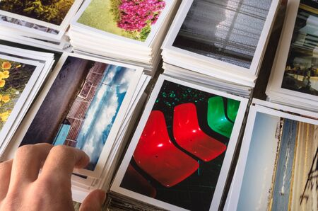 While arranging the printed photographs, check to have a scene Stock fotó