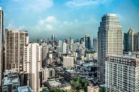 Day time high view of building, skyscrapers in downtown Bangkok, Thailand Zdjęcie Seryjne