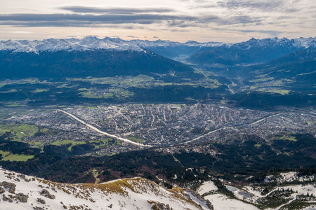 Landscape shot of Innsbruck city from Nordkette mountain, Tyeol Innsbruck, Austria.