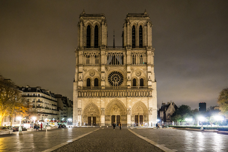 Notre Dame Cathedral at night. Paris, France. Zdjęcie Seryjne