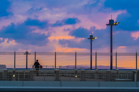 Beautiful sunset at Naha airport, okinawa, Japan, April 2018