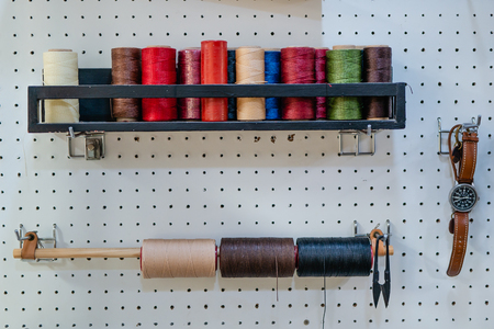 Set of colorful waxed thread for sewing leatherwork.