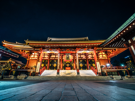 Senso-ji temple main building at night, Asakusa, Japan, October 2018.