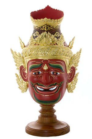recluse: Native Thai style mask, Khon on a white
