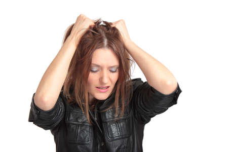 mujer decepcionada: Muy joven en la desesperaci�n. Aislados en blanco. Foto de archivo