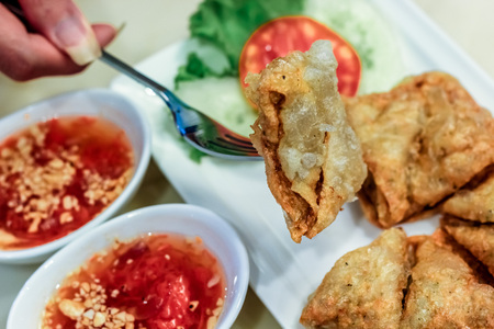 side dishes: crispy dumpling with shrimp pawn inside with side dishes Stock Photo